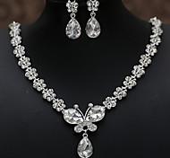 a noiva colar de jóias brinco dois set atacado cristal borboleta strass colares de jóias bridal atacado