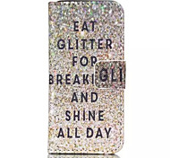 Glitter Pattern PU Leather Phone Case For iPhone 5C