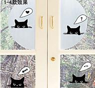 Cartoon Black Cat PVC Wall Sticker Glass Decals