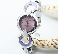 Women's Silver Case Alloy Analog Quartz Bracelet Watch