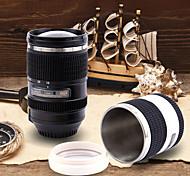 SLR Camera Lens Self-Stirring Thermo Coffee Mug Travel Thermo Stainless Steel Mug (Random Color)