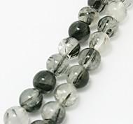 Beadia 39Cm/Str (Approx 40Pcs) Natural Black Rutilated Quartz Beads 10mm Round Stone Loose Beads DIY Accessories