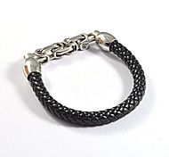 Fashion Men's 316L Stainless Steel Great Well Chain Weave Leather Bracelets 1pc
