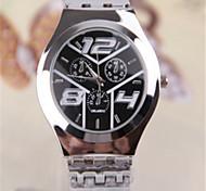Herren Armbanduhr Quartz Legierung Band Silber Marke-