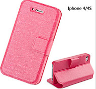 Phone Cases for Apple Silk Grain Leather Protective Shell Stand Holder Bags for iPhone 4/4s