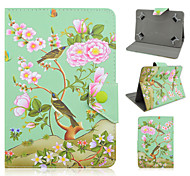 teste padrão floral e pássaro de alta qualidade de couro pu com suporte para tablet caso universal de 7 polegadas