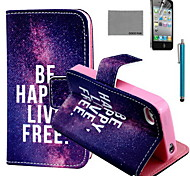COCO FUN® Free Life Pattern PU Leather Case with Screen Protector and USB Cable and Stylus for iPhone 4/4S