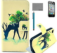 COCO FUN® Forest Giraffe Pattern PU Leather Case with Screen Protector and USB Cable and Stylus for iPhone 4/4S