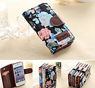 PU Leather Full Body Cases Phone Protective Shell with Card Bag Cover for iPhone 4/4S