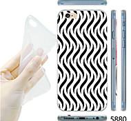 caso maycari® líneas onduladas en blanco y negro patrón del tpu suave transparente para el iphone 6 / 6s