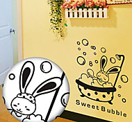 Multifunction PVC Bathing Rabbit Decorative Stickers
