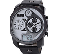 V6 Men's Fashion 3 Time Zones Analog & Digital Leather Strap Military Watch Cool Watch Unique Watch