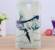 Girl With A Hat Pattern TPU Soft Case for Oppo R831S