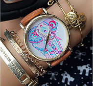 Elephant Watch  Leather Watch Women Watches Unisex Watch Boyfriend Watch Men'S Watch Floral Hibiscus Polka Teal