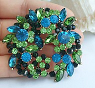 2.17 Inch Gold-tone Blue Green Rhinestone Crystal Flower Brooch Pendant Art Decorations