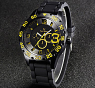 V6 Men's Fashion Black Sport Design Rubber Strap Quartz Casual Watch