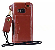 Pu Leather Card Slot Hang Rope Hanging Around His Neck cell Phone Holster For HTC M9/M8(Assorted color)