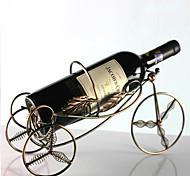 Metal Spring-loaded 4 Wheel Shaped Wine Bottle Holder Rack Bar Storage Table Stand (Random Color)