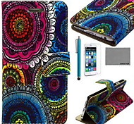 COCO FUN® Floral Tribal Pattern PU Leather Case with Screen Protector and USB Cable and Stylus for iPhone 6