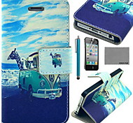 coco fun® dier bus patroon pu lederen tas met screen protector en usb-kabel en stylus voor iPhone 4 / 4s