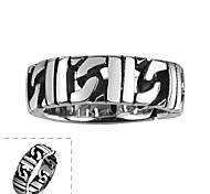 Майя классического индивидуальный щедрым уникальный нерегулярные выдалбливают круг из нержавеющей стали человек кольцо (черный) (1шт)