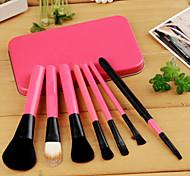 Kabuki Makeup Brush Set Cosmetics Foundation Blending Blush Eyeliner Face Powder Brush Makeup Brush Kit (7pcs, Pink)