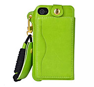 Pu Leather Card Slot Hang Rope Hanging Around His Neck cell Phone Holster For iPhone 4/4S(Assorted color)