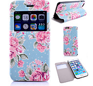 Flower Pattern PU Leather Material Window Case for iPhone 6 (Assorted Colors)