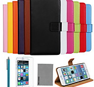 COCO FUN® Ultra Slim Solid Color Genuine Leather Case with Film,Cable and Stylus for iPhone 6 6G 4.7(Assorted Colors)