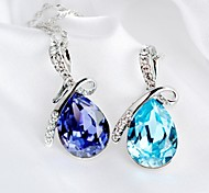 Fashion Women  Angel Tear Drop Pendant Necklaces Crystal Diamante Ornaments