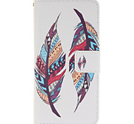 Two Colourful Feathers PU Leather Wallet Full Body Case with Stand for Wiko Wax