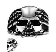 Maya Classical Individual Generous Hold Skulls with Hands Stainless Steel Man Ring(Black)(1Pcs)