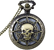 Fashion Hollow Out Skull Shape Vintage Alloy Quartz Analog Pocket Watch With Chains  (1 x LR626)
