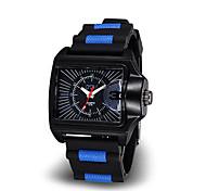 Men Luminous Hands Square Rubber Strap Quartz Watch(Assorted Colors)