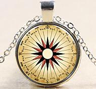 Fashion Retro Compass Compass Pendant Retro Compass Compass Necklace Glass Gem Necklace Gift for Friend