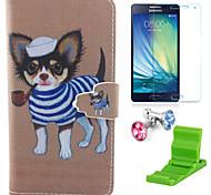 teste padrão do cão Hatchie estojo de couro pu com protetor de tela e ficar de pé e plugue poeira para Samsung Galaxy a5