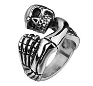 Brand Mens Jewellery Rings Skull Ring Stainless Steel Jewelry Skeleton Hand Punch Punk Rock Boy Vintage Rings