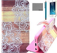 modello di fiore di legno pu custodia in pelle cocco fun® con la protezione dello schermo e il cavo usb e lo stilo per iPhone 5 / 5s