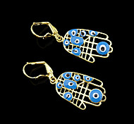 18K Real Golden Plated Hamsa Hand Of Fatima Evil Eye Crystal Hollow Out Pendant Earrings