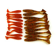 20pcs Mixed Size Soft Plastic Worm Baits Fishing Wobblers  80mm/5.7g  50mm/2.2g