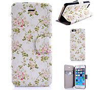 Green Leaves Flowers Pattern PU Leather Phone Case For iPhone 5/5S