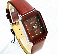 Men's Business Simple Square Diamond Dial PC Movement Leather Strap Fashion Quartz Watch (Assorted Colors)