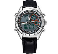 Men's  Leather High-End Dual Display Wrist Watch Luminous Watch