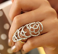 New Arrival Fashional Rhinestone Hollow Rose Ring