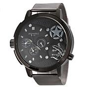 militaire design de mode cadran noir montre-bracelet à quartz de bande en acier pour hommes