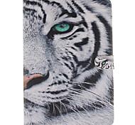 witte tijger patroon pu lederen full body case met standaard en kaartsleuf voor iPad lucht 2