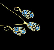 18K Real Gold Plated Hamsa Hand Of Fatima Evil Eye Crystal Necklace+Earrings Jewelry Set