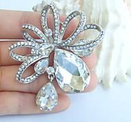 Wedding 2.56 Inch Silver-tone Clear Rhinestone Crystal Bridal Brooch