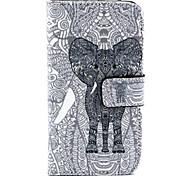 Слон шаблон PU кожаный чехол ТПУ полное тело с держателем карты для Samsung Galaxy альфа / Большой нео / ядра плюс