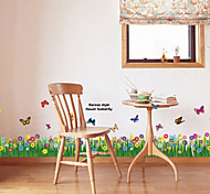 Multifunction DIY PVC Grass and Butterflies Pattern Decorative Stickers